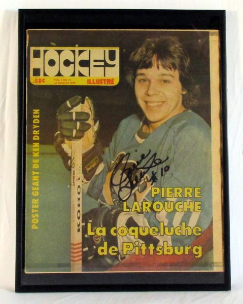 Pierre Larouche, Pittsburgh Penguins signed Canadien hockey illustre'