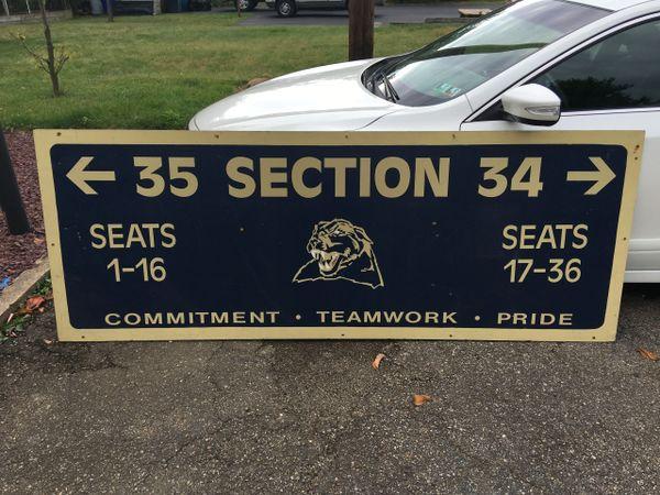 Large Pitt Stadium interior directional seating sign