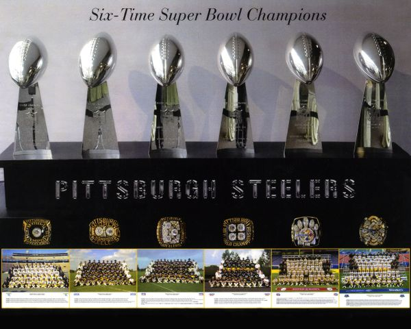 56. Steelers Super Bowl Trophies 11x14 photo