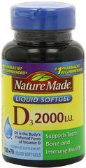 Nature Made Vitamin D3 2,000 I.U. Liquid Softgels 250-Count