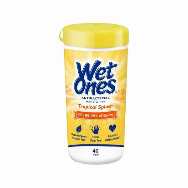 Wet Ones Antibacterial Hands Wipes, Tropical Splash, 40 Count
