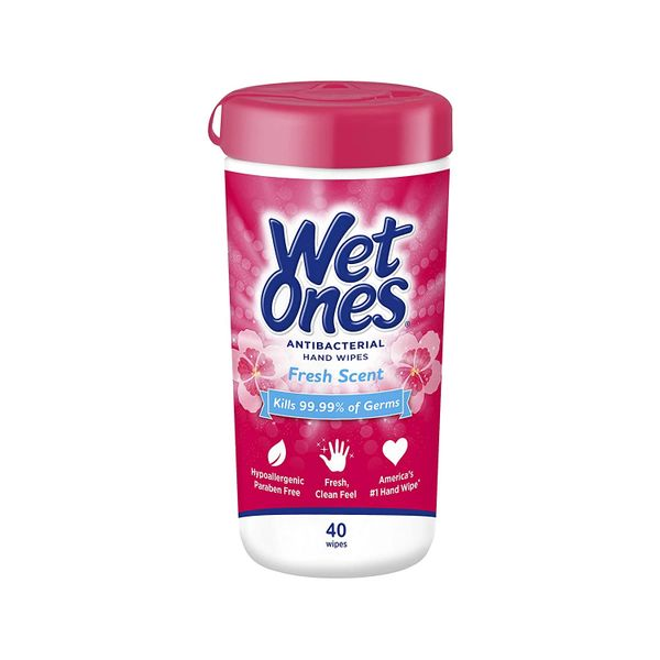 Wet Ones Antibacterial Hands & Face Wipes Fresh Scent 40 Count Canister