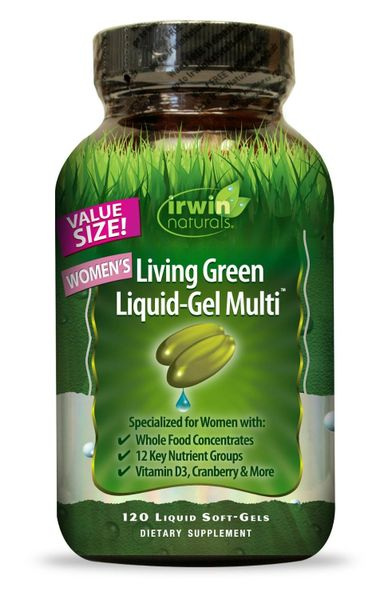 Irwin Naturals Living Green Multi Liquid-Gel for Women 120 Count