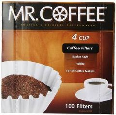 Mr. Coffee Basket Coffee Filters 4 Cup White Paper 100-Count Boxes (Pack of 12)