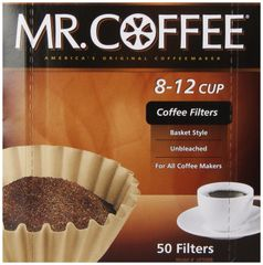 Mr. Coffee Basket Coffee Filters 8-12 Cup Natural Brown 8-inch 50-Count Boxes (Pack of 12)