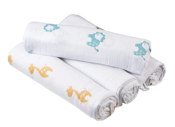 Aden + Anais Muslin Swaddle Blanket Safari Friends 4 Count