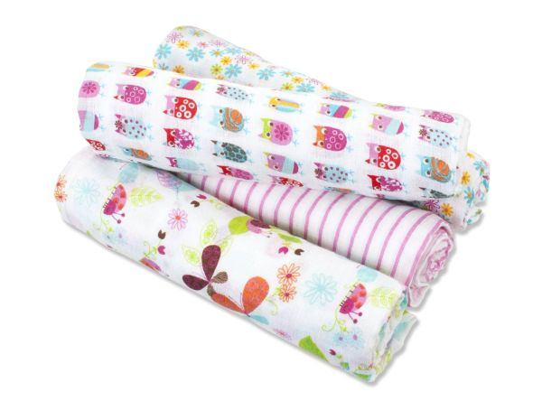 Aden + Anais Muslin Swaddle Blanket Walk In The Park 4 Count