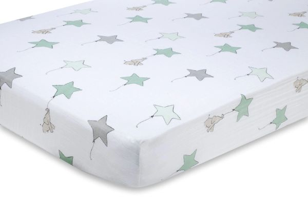 Aden + Anais Classic Muslin Crib Sheet Up Up and Away Elephant