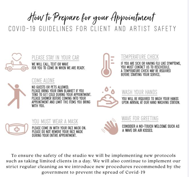How to prepare for your appointment: COVID-19 guidelines for client and artist safety.