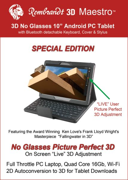"Special Edition Fallingwater 3D 10"" 3d Glasses-Free Android PC Tablet includes slate gray bluetooth keyboard, cover and stylus. SHIPS IMMEDIATELY - Limited Supply"