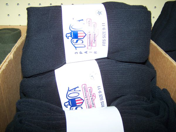 SOCKS, 3-PACK, BLACK, 2.5% SILVER, U.S. ISSUE, size 9-11
