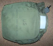 GAS MASK BAG, OD GREEN NYLON *NICE*