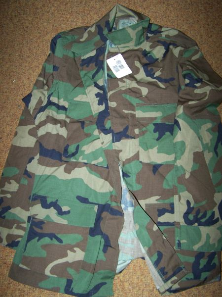 BDU SHIRT, WOODLAND CAMO, SIZE LARGE-LONG, U.S. ISSUE