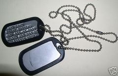 DOG TAGS, CUSTOM STAMPED MILITARY ID TAGS