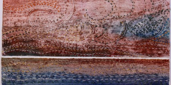 Barbara Dawson.  'Floods Lines. Collagraph  print with stitch