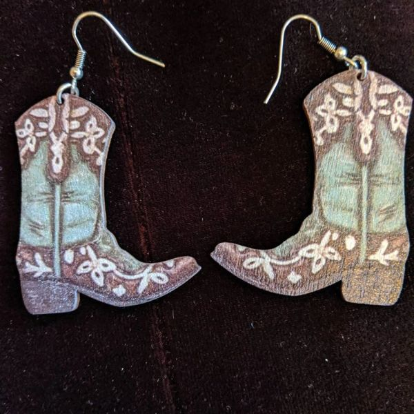 wood cowboy boot earrings