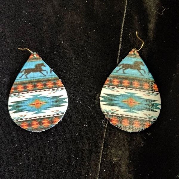 Vinyl earrings southwestern horse print
