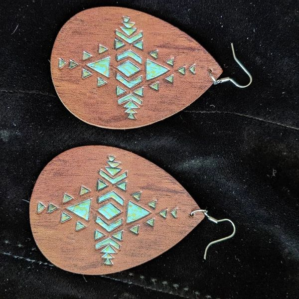 Leather earrings brown and teal