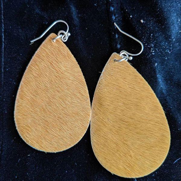 leather hair on mustard earrings