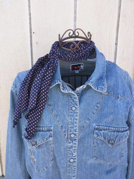 Roy Rogers or show scarf navy with tiny orange with white accent dots