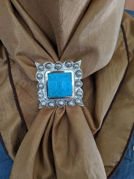 "2"" square scarf slide with large turquoise stone"