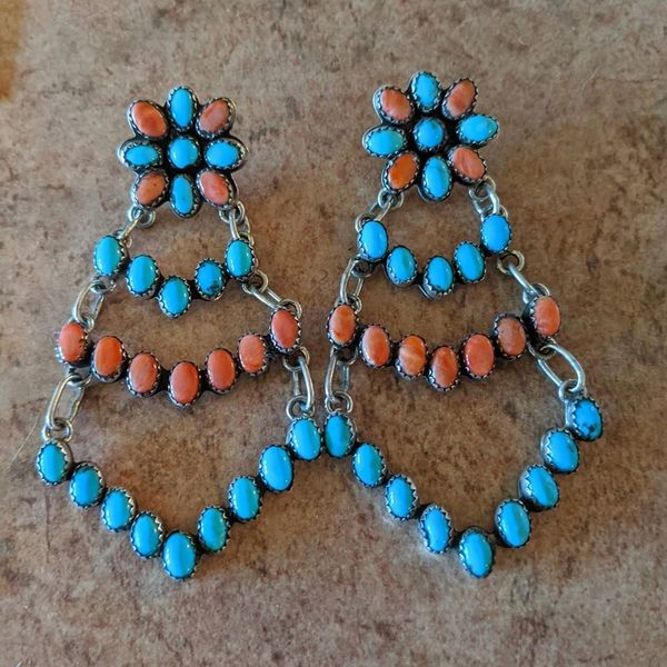 Genuine Silver earrings with turquoise and orange coral