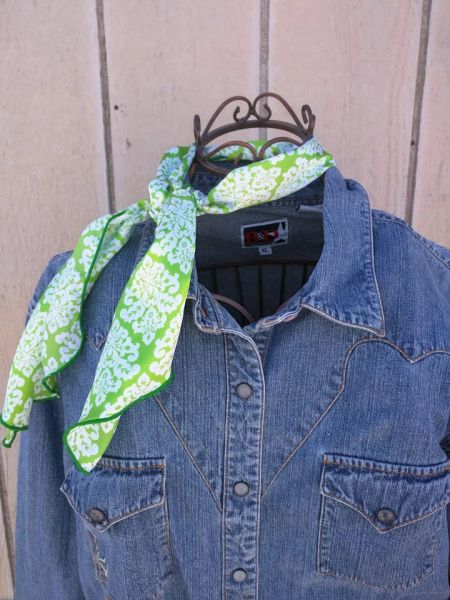 Roy Rogers or show scarf - lime green and white print