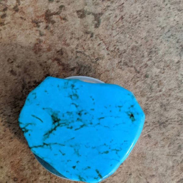 """Turquoise slab pop socket more green than picture shows 1 3/4"""" X 1 1/2"""