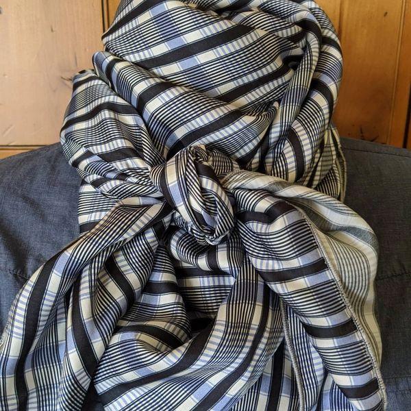 42x42 silk light blue, navy and white plaid print wild rag