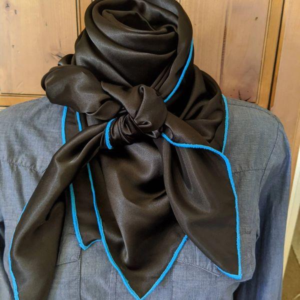 43x43 silk black wild rag with turquoise edge