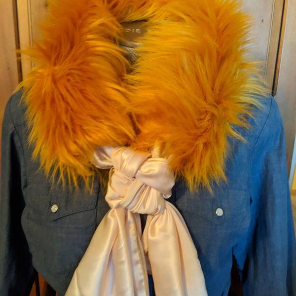 Shaggy Mustard Faux Fur wild rag ruff