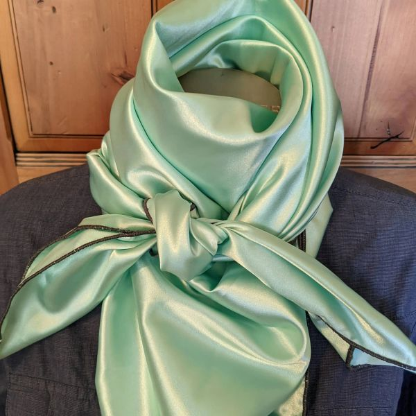 42x42 silk seafoam/mint green wild rag with gray edge