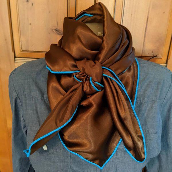 chocolate brown silk wild rag with teal edge