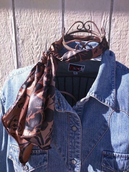 Roy Rogers or show scarf - Black and Copper floral print
