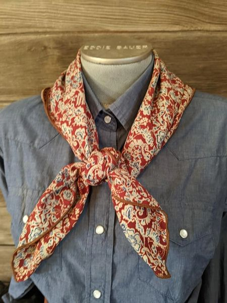 27x27 rusty brown, tan, and blue floral print wild rag