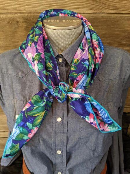 28x28 bright blue, greens, pinks, purple floral print wild rag