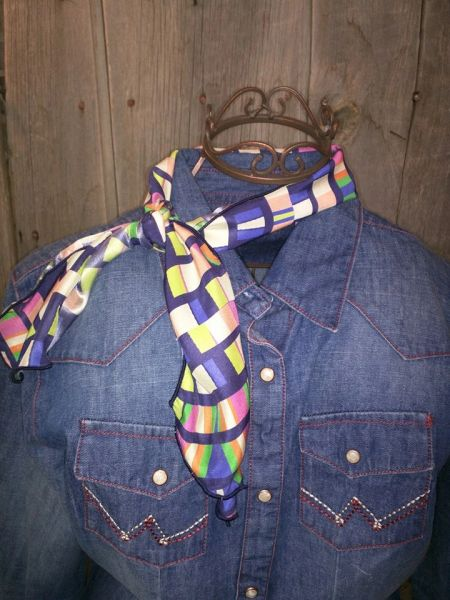 Roy Rogers or show scarf - blue, green, cream, pink square print
