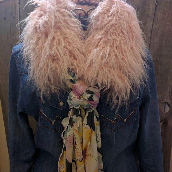 Angora Faux Fur Ruff light pink