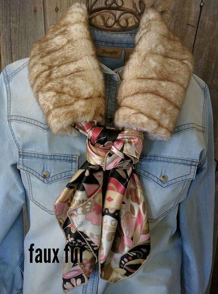 Faux fur Ruff - tan and brown