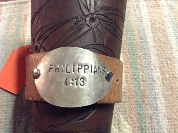 "Leather cuff 81/4"" Philippians 4:13"