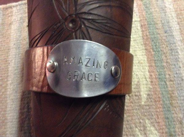 "Leather cuff 8 1/2"" amazing grace"