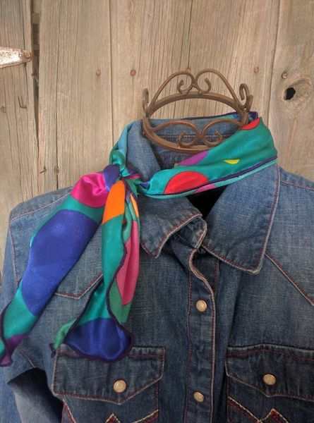 Roy Rogers or show scarf - Teal, purple, orange, pink, red, blue dots print