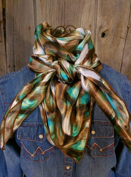 42x42 brown, chocolate, white, and teal brushed wild rag