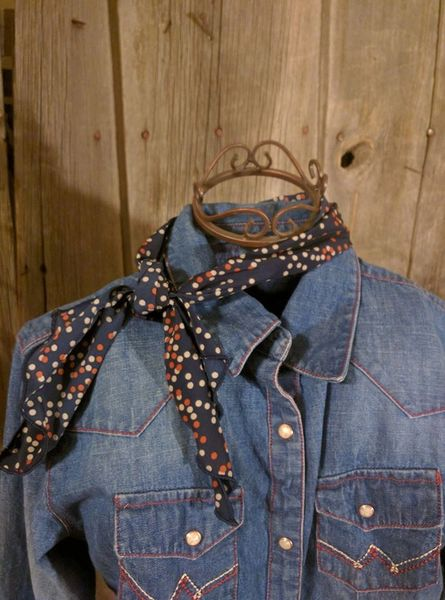 Roy Rogers or show scarf - Blue with orange and cream dots print