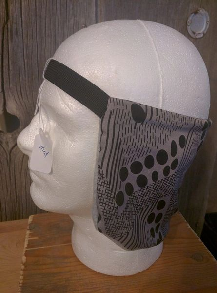 Cowboy ear warmer - Gray with black dots and lines print