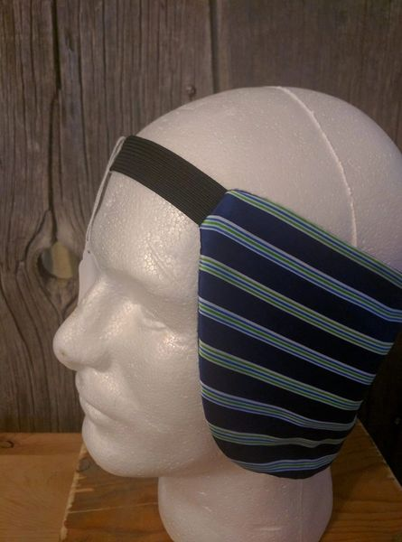 Cowboy ear warmer - blue. white, and green lines print