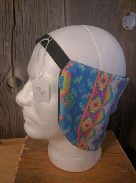 Cowboy ear warmer - blue, white, yellow, neon orange print