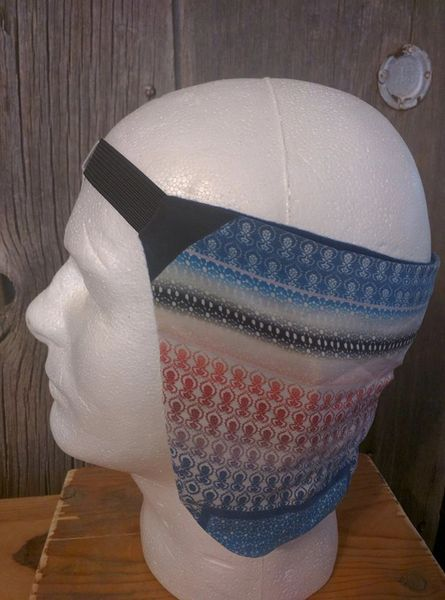 Cowboy ear warmer - blue, gray, red, black print