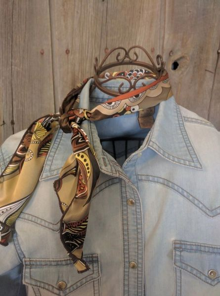 Roy Rogers or show scarf - browns, tans, cream, rose, soft yellow print