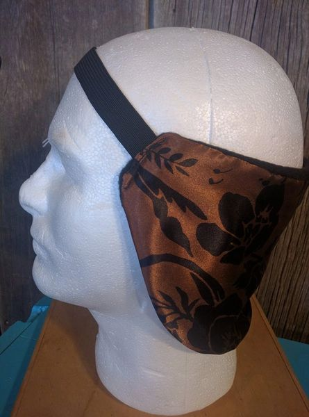 Cowboy ear warmer - copper with black floral print